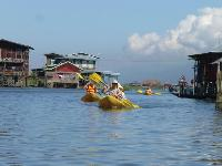 Gentle paddling on a tranquil section of Inle Lake. |  <i>Caroline Mongrain</i>