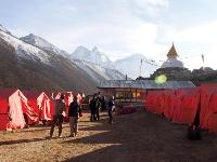 Trekkers admiring the views from the Dingboche camp-site |  <i>Kylie Turner</i>