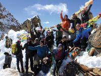 Happy group of trekkers atop of the Renjo La, Nepal |  <i>Scott Cardwell</i>